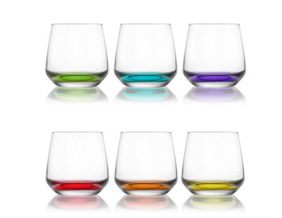 coloured base drinking glasses