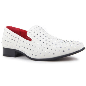 Studded Shoes Rhinestones Faux Suede Loafers - Baldoria (Suede White)