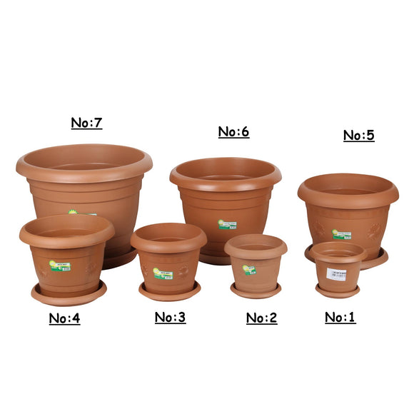 Strong Plastic Round Flower Plant Pot and Saucer