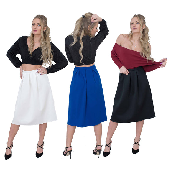 Women Skater Skirt, Plain Slip On Pleated Maxi Skirt Elasticated Waist Sizes 8 to 16