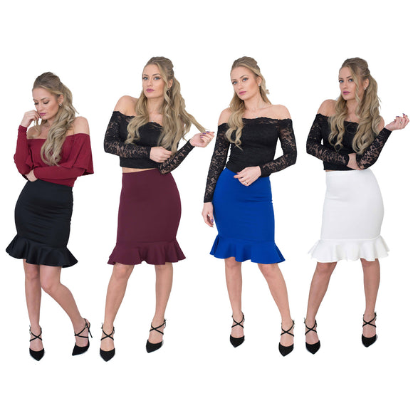 Jolie Max Women Fishtail Pencil Skirt Midi Stretch Bodycon Sizes 8 to 16