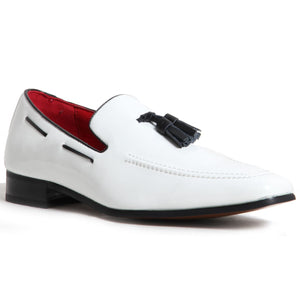 Decorative Stitch Western Heel Shoes - Jersey (Patent White)