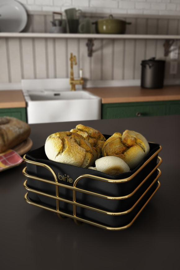 Square Kitchen Bread Basket with Fabric. Stainless Steel & Washable Fabric.