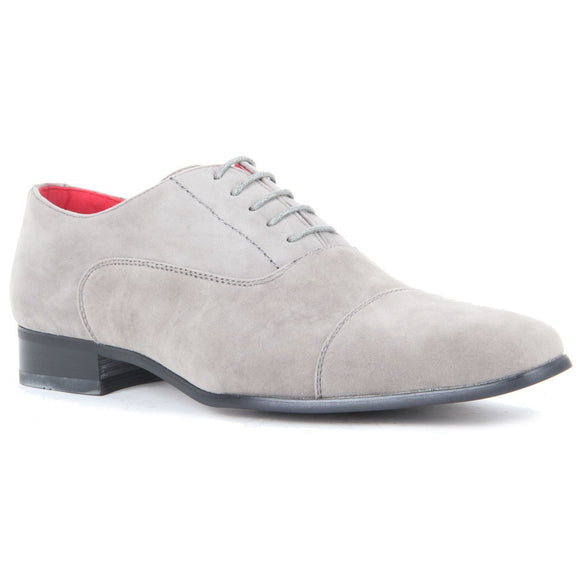 Mens Lace Up Capped Toe Smart Spectator Shoes - Mario (Suede Grey)