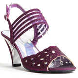 Block Heel Buckle Up Sandals - Violet (Purple)