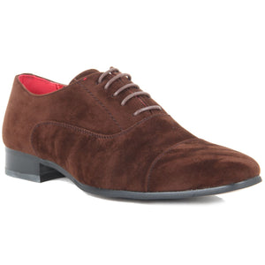 Mens Lace Up Capped Toe Smart Spectator Shoes - Mario (Suede Brown)