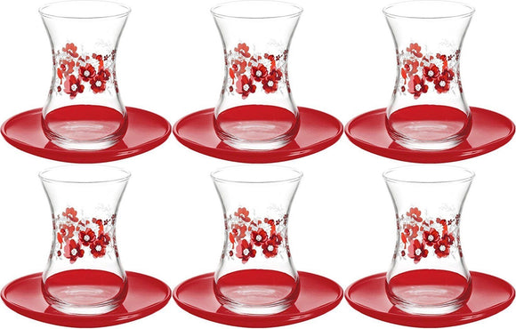 12 Pcs. Tea Glasses Luxury Red Flower Design Turkish Tea Glass Cay Bardagi, 6 Tea Glasses & 6 Red Colour Saucers - GELINCIK
