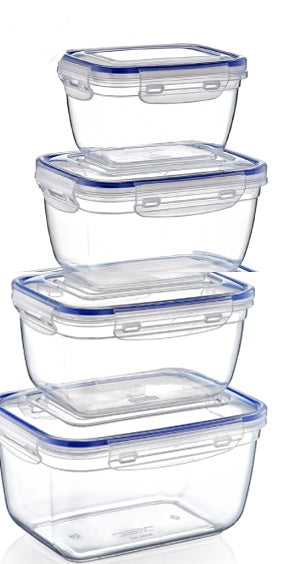 Plastic Rectangle Food Storage Container with Lid. (4 pcs) (550/1000/1800/3000 ml).