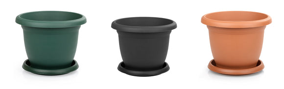 Plastic Round Flower Plant Pot and Saucer Planter. Grooved Base In/Out Multibuy.