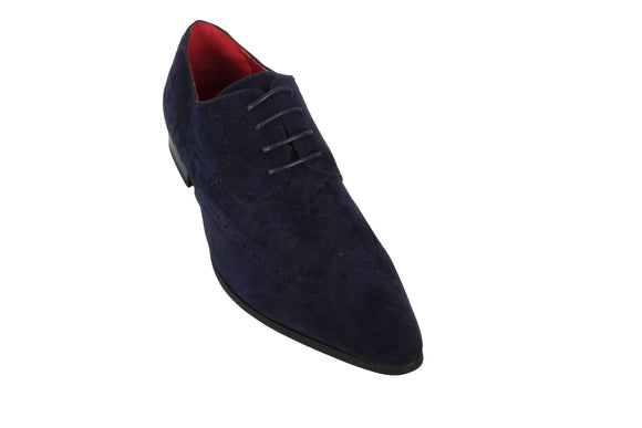 Pointed Toe Brogue Formal Lined Shoes - Prato (Suede Navy)