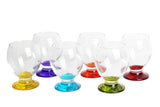 Coloured Base Brandy Cognac Snifter Glasses Set of 6, 280cc - NEC14