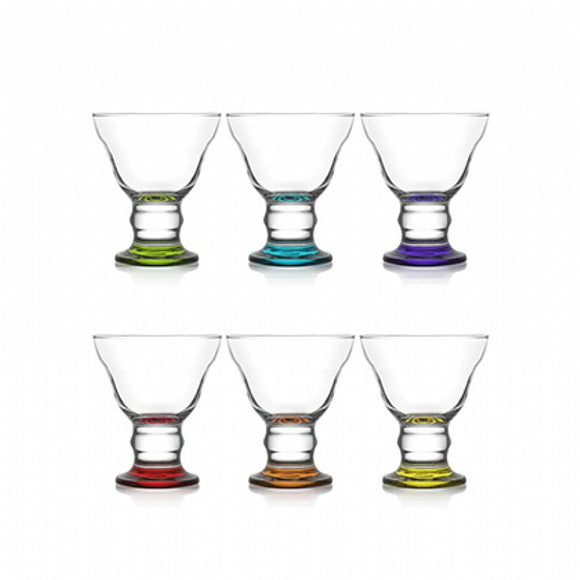 Ice Cream/Sundae/Desert/Fruit Cocktail Glasses Coloured Base Bowls Pack of 6, ORN319