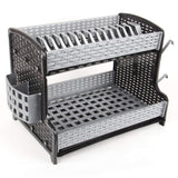2 Tier Large Silver and Black Dish Drainer