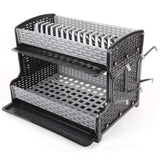 Silver Shelves Black Side 2 Tier Dish Drainer