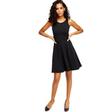 Womens Ladies Slip On Sleeveless Boat Neck Skater Dress Bodycon Casual Size 8 to 14