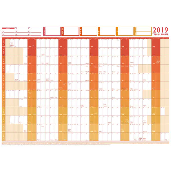 2019 Large Year Wall Chart and Holiday Planner 2019 Large Year Wall Chart and Holiday Planner