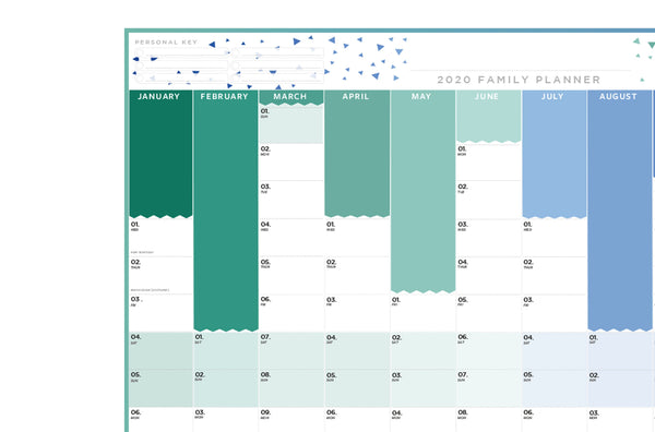 2020 Family Year Planner - Extra-large Laminated Wall Planner-Blue 2020 Family Year Planner - Extra-large Laminated Wall Planner