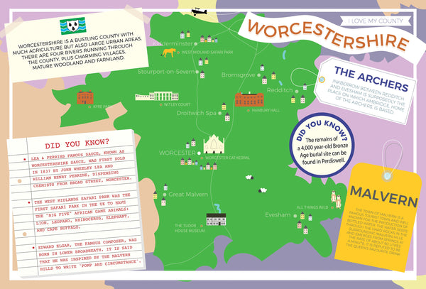 Worcestershire - I Love My County 400 Piece Jigsaw Puzzle Worcestershire - I Love My County 400 Piece Jigsaw Puzzle