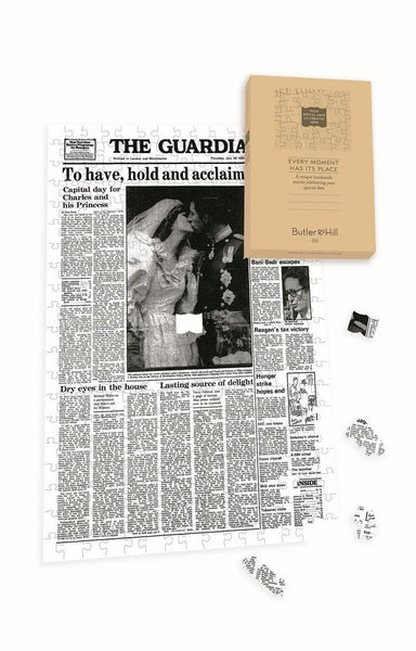 "Personalised ""The Guardian "" Front Page 400 Piece Jigsaw Puzzle- Charles & Di Personalised"