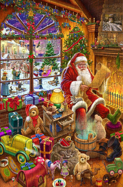 Santa's Christmas list - 300 Piece Wooden Jigsaw Puzzle CU Santa's Christmas list - 300 Piece Wooden Jigsaw Puzzle