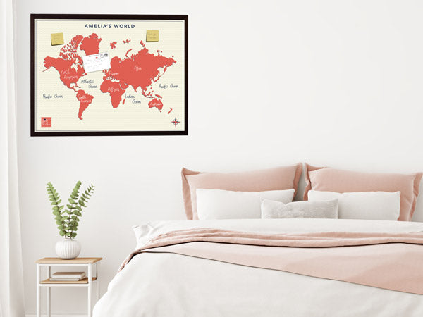 Contemporary Personalised Framed Pinboard Map