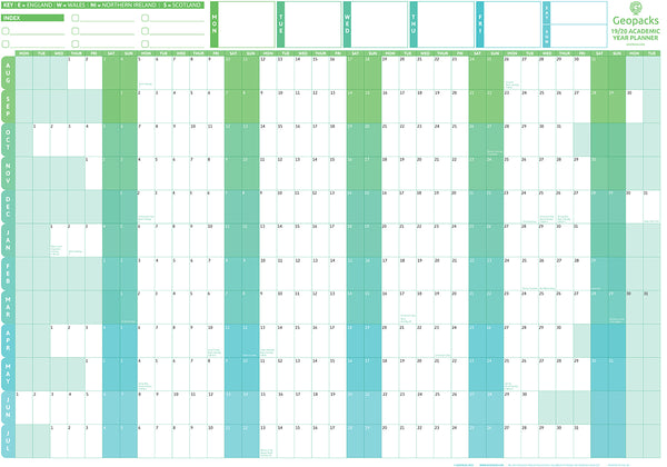 Giant 2019 / 2020 Academic Year Wall Planner Giant 2019 / 2020 Academic Year Wall Planner