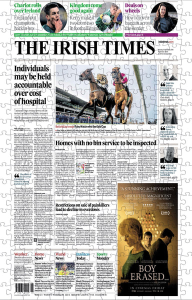 Irish Times Front Page Jigsaw Puzzle Irish Newspaper Front Page Jigsaw Puzzle