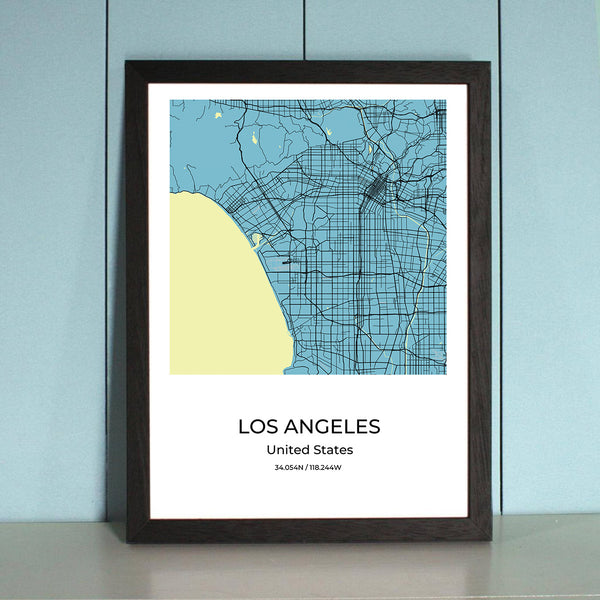Los Angeles City Map Wall Art Los Angeles City Map Wall Art Poster with Wooden Frame