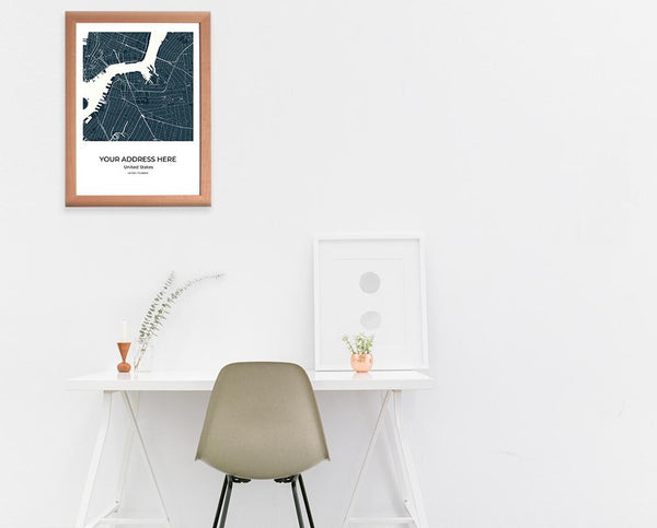 City Map Wall Art New York City Map Wall Art Poster with Wooden Frame