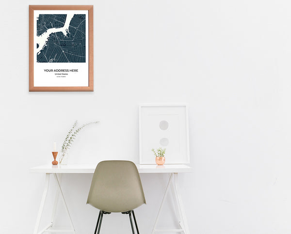 City Map Wall Art Washington City Map Wall Art Poster with Wooden Frame