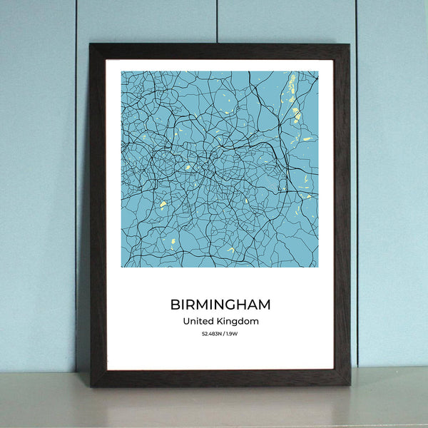 Birmingham City Map Wall Art Birmingham City Map Wall Art Poster with Wooden Frame