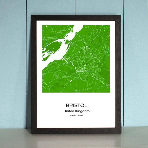 Bristol City Map Wall Art Bristol City Map Wall Art Poster with Wooden Frame