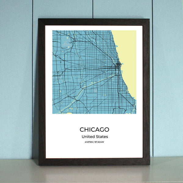 Chicago City Map Wall Art Chicago City Map Wall Art Poster with Wooden Frame
