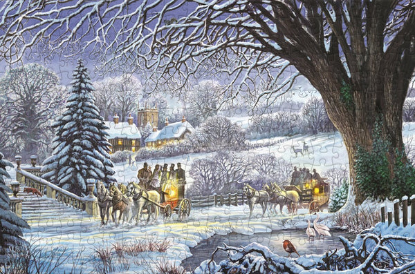 Christmas Coaches by Steve Crisp 300 Piece Wooden Jigsaw Puzzle Christmas Coaches by Steve Crisp 300 Piece Wooden Jigsaw Puzzle