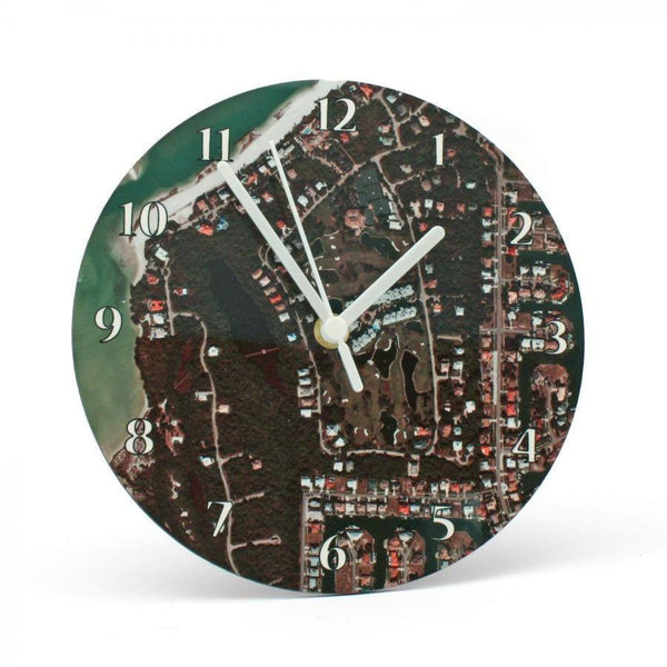 Clock - Aerial Photograph Personalized Clock - Any US Address