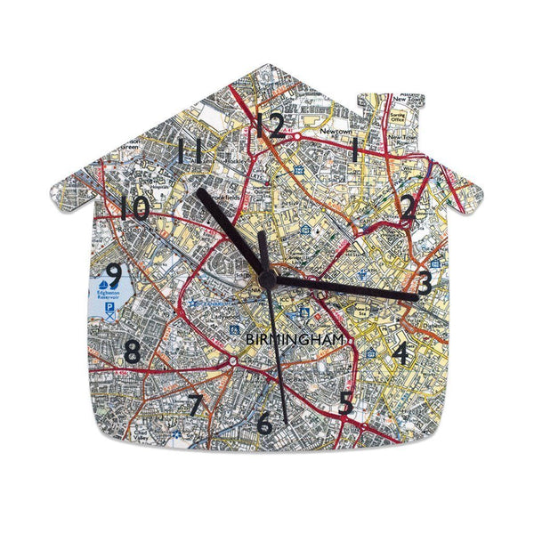 Clock - House Shaped 25cm Map Clock - Personalised House Shaped 25cm Map Clock - Personalised
