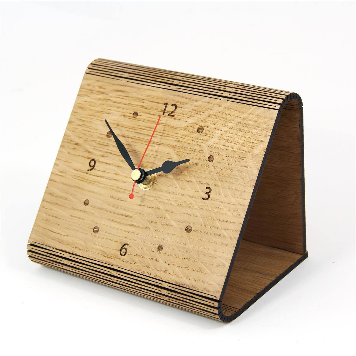 Image of Living Hinge Wooden Clock in an Oak Finish with Personalised Message