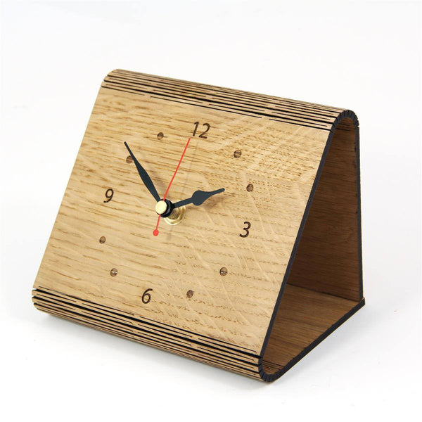 Clock - Living Hinge Wooden Clock In An Oak Finish With Personalised Message Living Hinge Wooden Clock - Oak Finish