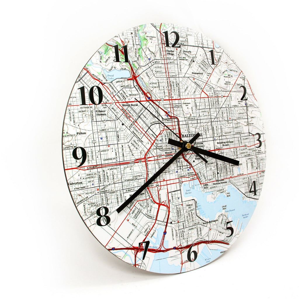Clock - Wall Clock With Personalized Map - Any US Address