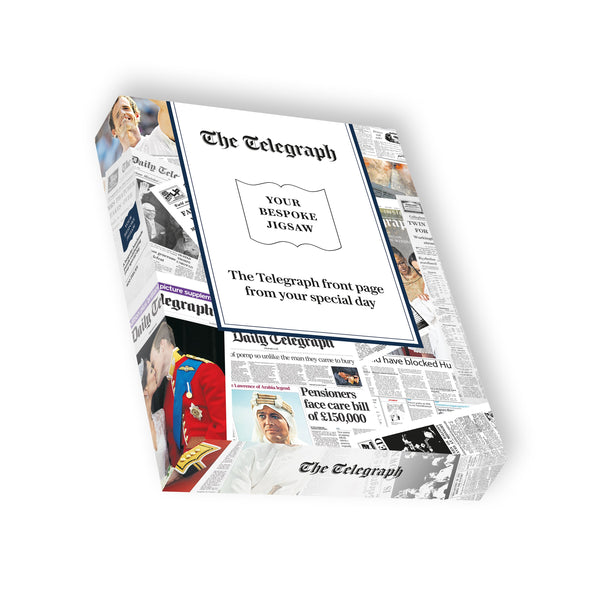 "Personalised ""The Telegraph"" Front Page 400 Piece Jigsaw Puzzle box Personalised"