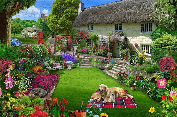 Dogs in a Cottage Garden 300 Piece Wooden Jigsaw Puzzle Dogs in a Cottage Garden 300 Piece Wooden Jigsaw Puzzle