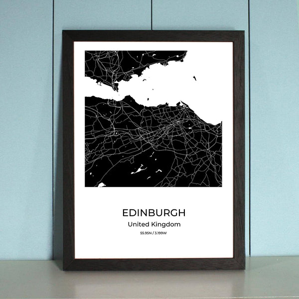 Edinburgh City Map Wall Art Edinburgh City Map Wall Art Poster with Wooden Frame