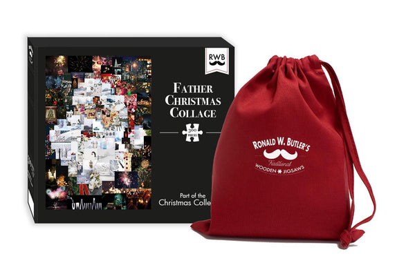 Father Christmas Collage - 300 Piece Wooden Jigsaw Puzzle-1 Father Christmas Collage - 300 Piece Wooden Jigsaw Puzzle