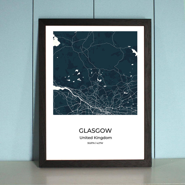Glasgow City Map Wall Art