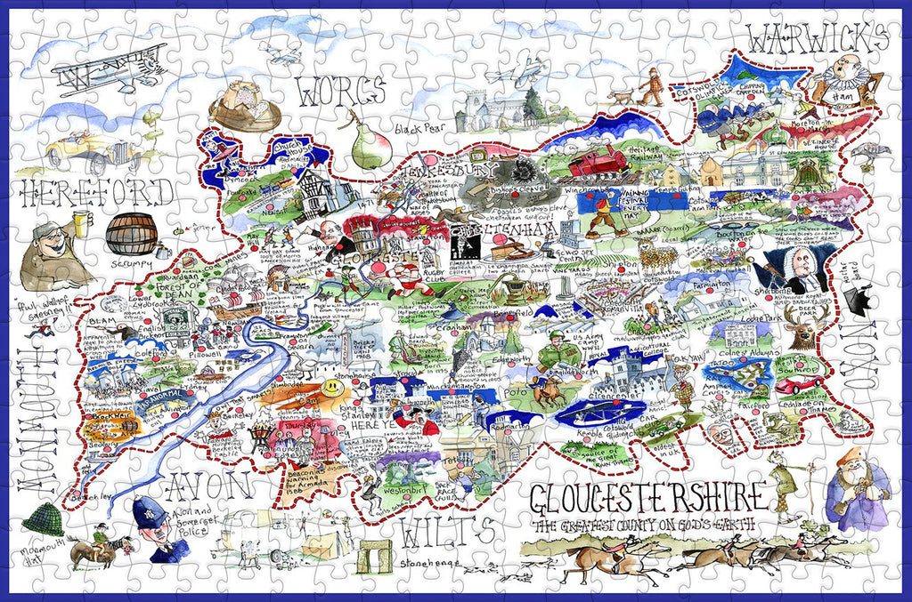 Map of Gloucestershire - Tim Bulmer - 300 Piece Wooden Jigsaw Puzzle