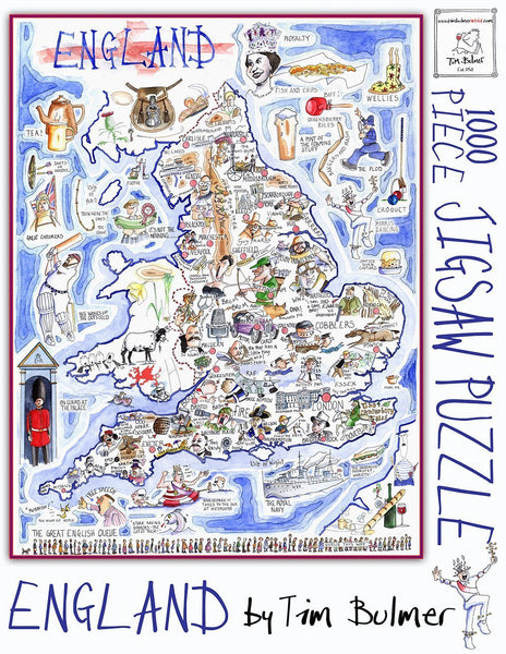 Jigsaw Puzzle - Comical Map Of England - Tim Bulmer 1000 Piece Jigsaw Puzzle Comical Map of England - Tim Bulmer 1000 Piece Jigsaw Puzzle