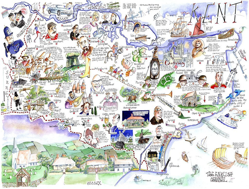 Jigsaw Puzzle - Comical Map Of Kent - Tim Bulmer 1000 Piece Jigsaw Puzzle