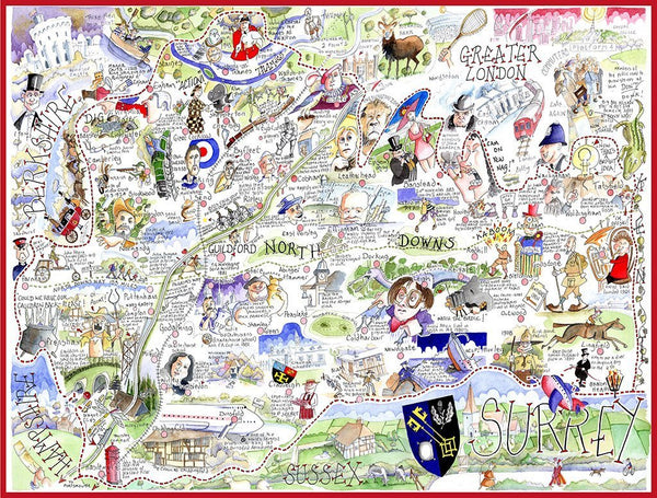 Jigsaw Puzzle - Comical Map Of Surrey - Tim Bulmer 1000 Piece Jigsaw Puzzle Comical Map of Surrey - Tim Bulmer 1000 Piece Jigsaw Puzzle