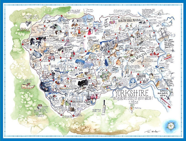 Jigsaw Puzzle - Comical Map Of Yorkshire - Tim Bulmer 1000 Piece Jigsaw Puzzle