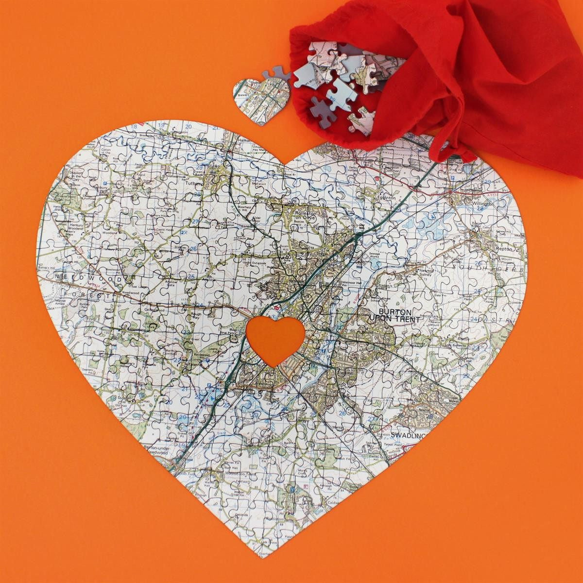 #7! Personalised Heart-Shaped Map Jigsaw Puzzle